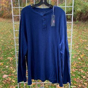 VINEYARD VINES Blue Jersey Dye Slub Henley Shirt